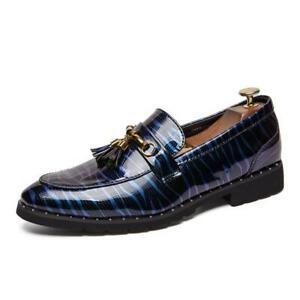 Oxfords Mens Tassel Dress Formal Shoes Round Toe Slip On Print Leather Blue Sz