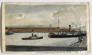 Vintage small watercolour of ship City of Mandalay Queen's Dock - Glasgow? 1931
