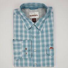 Simms Fishing Shirt Medium Blue Checked Vented Mens Size M Tencel Blend Plaid Sz