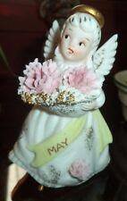 Vintage Lefton's May Angel figurine holding flowers 3332