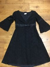 Ladies Stunning Black Karen Millen Dress Size 10 With Satin Now