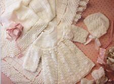 Vintage Baby Crochet Pattern LAYETTE Copy Bonnet Bootees  SHAWL