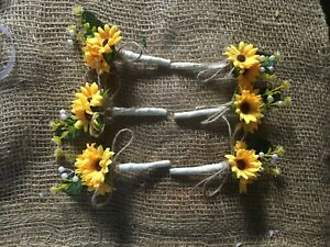 12 x Sunflower Corsage Buttonholes Wedding Flowers shabby chic twine pearls
