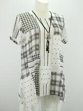 Shirt Tunika Gr.40 - 44 Lagenlook Leinenoptik weiß schwarz Karo A Form Taschen