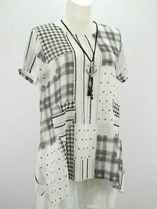 Shirt Tunika Gr.40 - 44 Lagenlook Leinenoptik weiß schwarz Karo A Form Taschen w