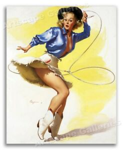 """""""On Her Toes"""" Vintage Style Elvgren Roping Cowgirl Rodeo Pin-Up Poster - 16x20"""