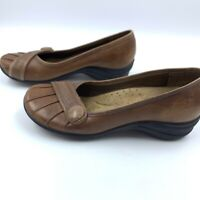 Hush Puppies Womens 7 Shoes Flats Comfort Slip On Leather Loafers Career **READ