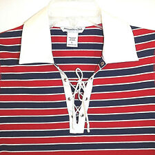 ABERCROMBIE&FITCH Girls SS Lace Up Knit Polo T Shirt Red White Blue  Chest 32  L