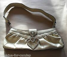 Chic GUESS Purse Baguette Bag Clutch w/ Handle Champagne Gold Heart Rhinestones