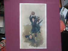 "ORIGINAL SIGNED WATERCOLOR PAINTING ""GIRLS PLAYING FOOTBALL/SOCCER"" c1912 SPORTS"