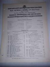 Vtg RCA Victrola Service Data/Manual~U-9 Phonograph Radio~1940~Original