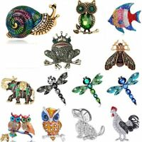 Retro Animal Dog Owl Elephant Crystal Brooch Pin Women Costume Christmas Jewelry