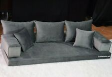 VELVET Gray Floor Sofa Arabic Oriental Couches Bohemian Yoga Moroccan seating