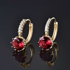 HUCHE Red Sapphire Ruby Crystal 24K Gold Filled Women Wedding Party Earring Stud