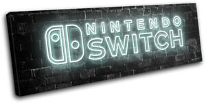 Nintendo Switch Gamer Neon Urban Gaming SINGLE CANVAS WALL ART Picture Print