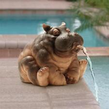Hippo Water Spitter Sculpture Garden Pool Pond Hippopotamus Fountain Statue Art
