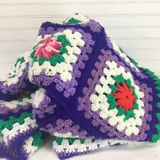 Vtg Purple Blue Afghan Granny Squares 96 x 76 Large Queen King Handmade Quilt