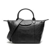 Longchamp Le Pliage Cuir Klein Leder Kurzen Henkeln Handtasche Shopper Schwarz