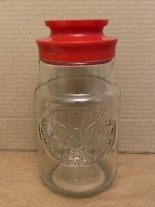 Vtg Anchor Hocking Glass Canister Jar, 1776 ELECTION 1976 w/Red Plastic Lid