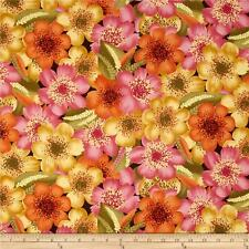 Orange_raspberry_honey_flowers_BTY EQ cotton gorgeous FREE US SHIP
