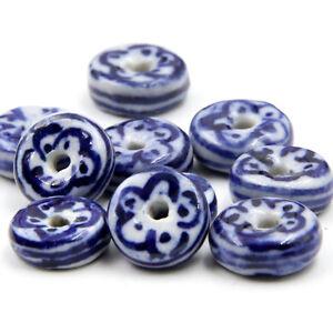 30Pcs Porcelain Ceramics Flower Design Beads Finding Jewelry beads
