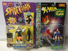 Vintage 1996 Toy Biz Spiderman Black Cat and X-Men Psylocke Action Figures MOC