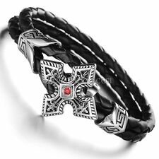 Silver Stainless Steel Cross w Red CZ Braided Black Leather Strap Men's Bracelet