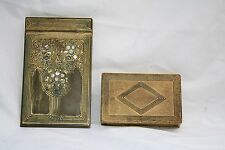 1900s, 2P TIFFANY STUDIOS ENAMELED BRONZE ABALONE INLAY BOX & NOTE PAD HOLDER