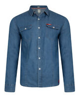 Lee Cooper Slim Fit Denim Shirt Mens Fashion Retro Mid Wash Blue Jean Shirts