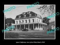 OLD LARGE HISTORIC PHOTO OF APTOS CALIFORNIA, VIEW OF THE WHITE HOTEL c1930
