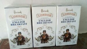3 x Boxes Harrods English Breakfast Tea. total  60 tagged enveloped Tea Bags