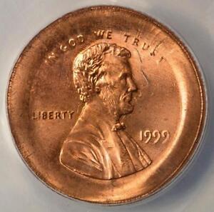 1999 ANACS MS64RD Massive Broadstruck Double Struck Cent Mint Error Two Profiles
