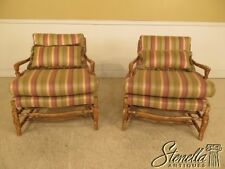 28912E: Pair Country French Distressed Finish Upholstered Club Chairs