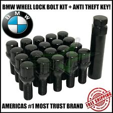 20 BMW Black Lug Bolt Wheel Locks + Key 12x1.5 For M3 M5 335 135 E46 F10 F30 E36