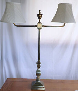 "Large antique brass double light table lamp. An imposing 32 inches high 22""wide."