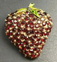 VINTAGE ' CINER ' STRAWBERRY BROOCH VIBRANT RED CRYSTALS/RHINESTONES Enamel Pin