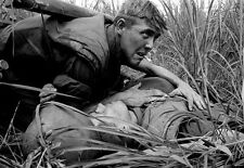 B&W Vietnam War Photo US Soldier with Wounded Comrade 1967 / 1555