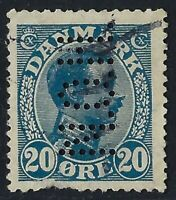 Denmark Perfin N39-N.O.H.: UNKNOWN user (1906-07), 20 ore Blue, catalog RF:1000