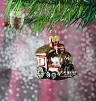 Miniatur Lokomotive in Rot,  Weihnachtbaumschmuck Christbaumschmuck Lauscha 54C1