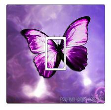 Purple Shiny Butterfly Light Switch Sticker vinyl skin cover decal