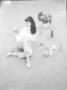 1960s Original 5 x 7 Advertising Negative Cute Mod Brunette Bangs & Capri Pants