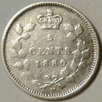 1880H (Obv 2) CANADA SILVER FIVE CENTS Coin