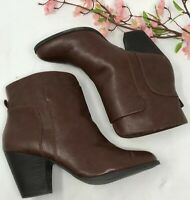 Nine West Gedrik Brown Ankle Boots Booties Size 10 M Pull On Womens Shoes