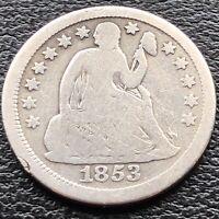 1853 Seated Liberty Dime 10c RARE Mid Grade  ++ NO ARROWS ++ #15046