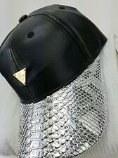 Hater Strapback Hat Black Leather Crown Silver Snakeskin Brim Beautiful Rare