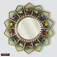"Sunflower Mirror wall art 23.6"", Peruvian Accent Round Mirror, Painting on Glass"