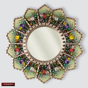 "Sunflower Mirror wall art 23.6"", Peruvian Accent Round Mirror, Painting on Glass"