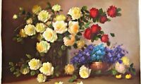 Large Original Oil on Canvas by J. Loth, Roses Still Life, Shabby Chic  25x37
