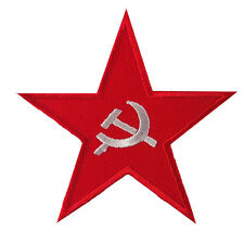 Red Star Badge Soviet Union USSR Hammer Sickle Embroidered Iron on Patch