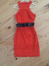 Orange Mesh Lace Pencil Summer Races Dress Xs 6 0